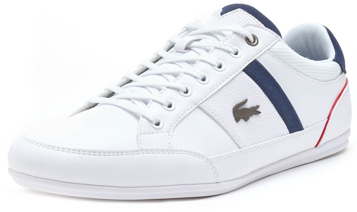 f1efc0276 Lacoste Chaymon 318 1 CAM Trainers in White   Navy Blue 736CAM0008 ...