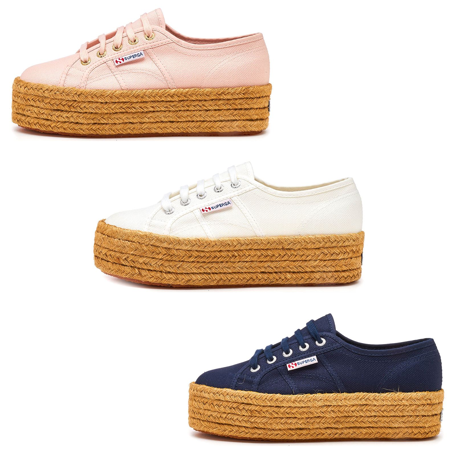 3a05a564892 Details about Superga 2790 Cotropew Platform Plimsoll Shoes in Pink