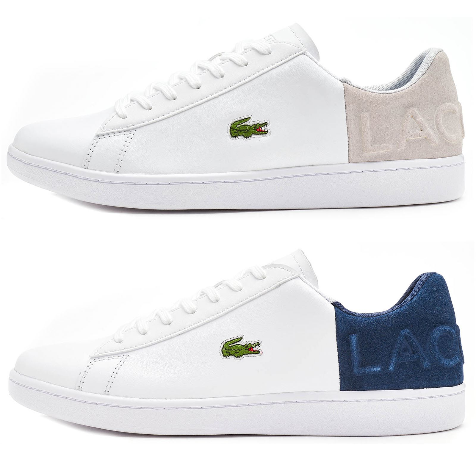 069fa27a09c658 Lacoste Carnaby EVO 318 2 QSP Trainers in White   Grey   Navy Blue Ankle  Labeled