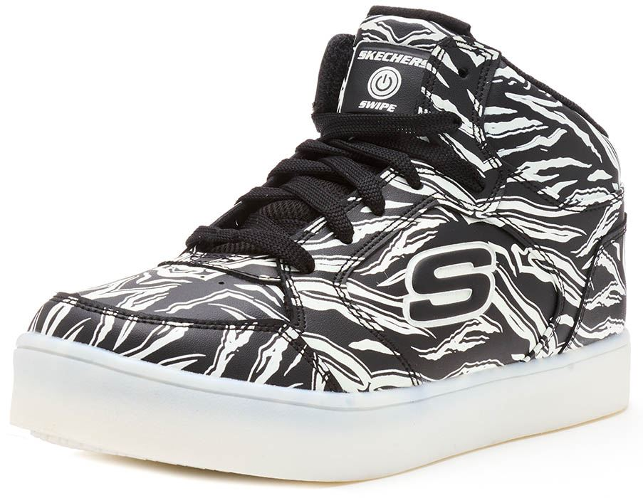 Details about Skechers Energy Lights Hi Top Kids Trainers Black White Outglow Print Rose Gold