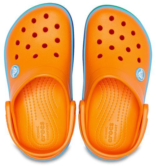 Crocs-Kids-Crocband-Rainbow-Wavy-Sequin-Relaxed-Fit-Clogs-Shoes-Pink-Blue-Orange thumbnail 6