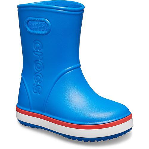 Crocs Kids Wellies Wellingtons Boots Roomy Fit PVC Rubber Sz 1 Junior Blue