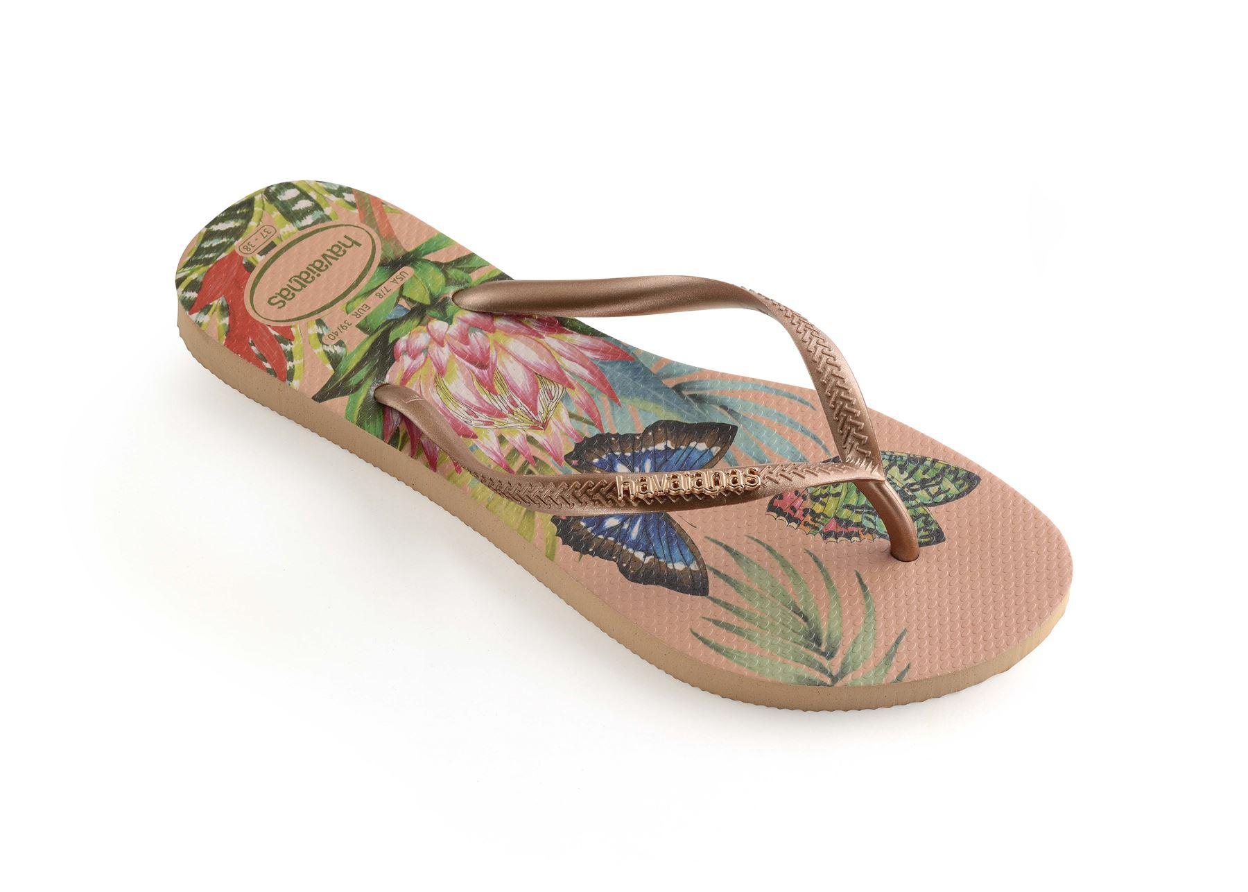 Havaianas-Slim-Tropical-amp-Imprime-Floral-Tongs-Ete-Plage-Piscine-Sandales miniature 12