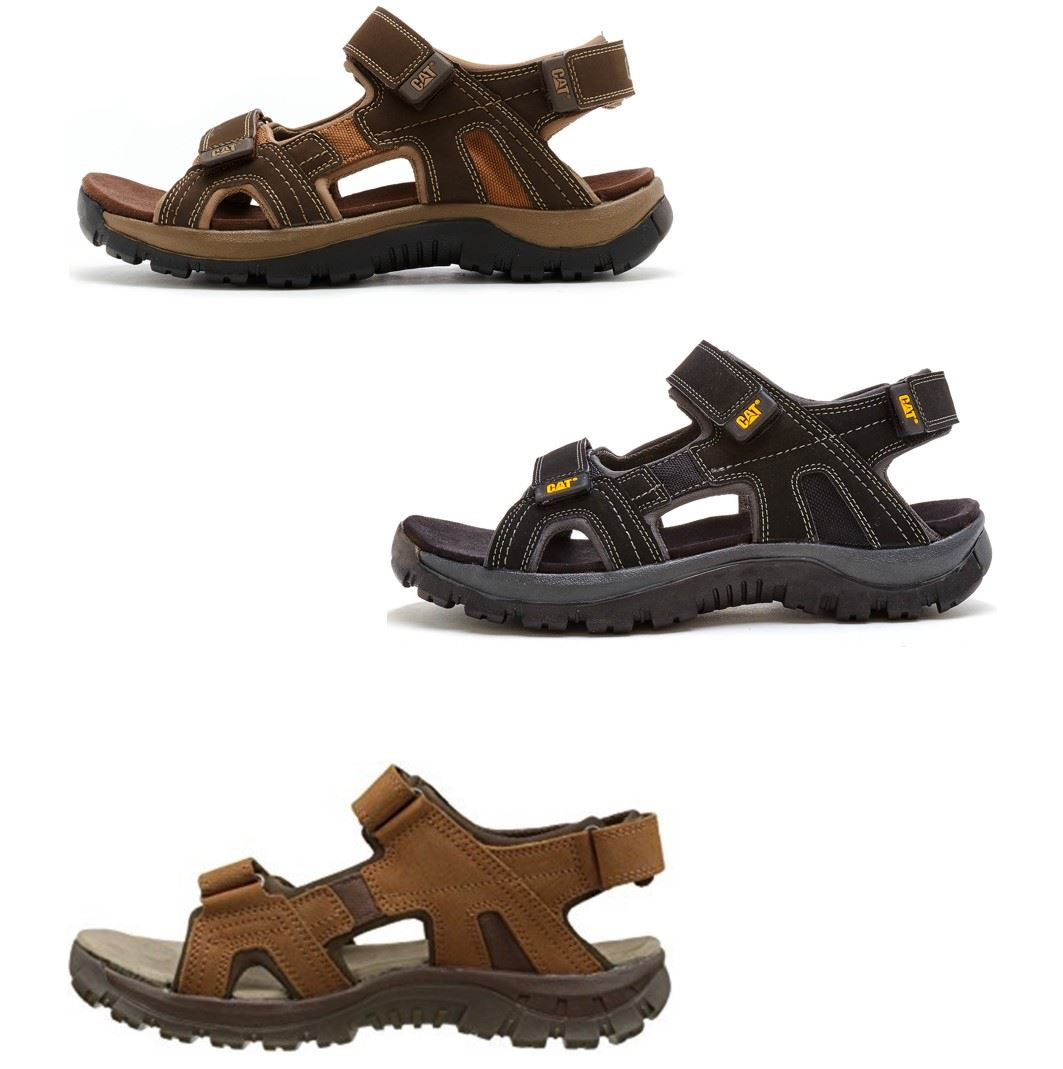 ee8cf09475a2 Caterpillar Giles CAT Leather Sandals in Brown   Black