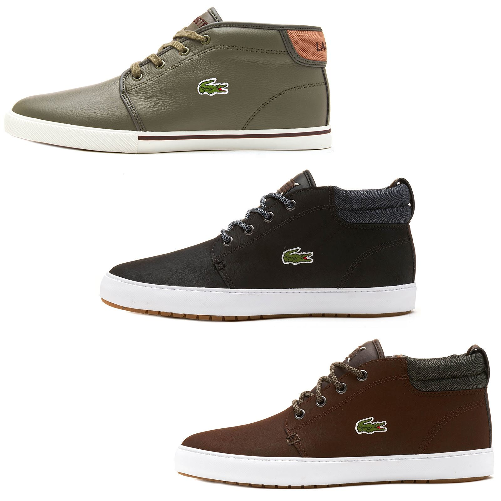 cd23a2906 Details about Lacoste Ampthil Terra CAM Leather High Top Trainers in Black
