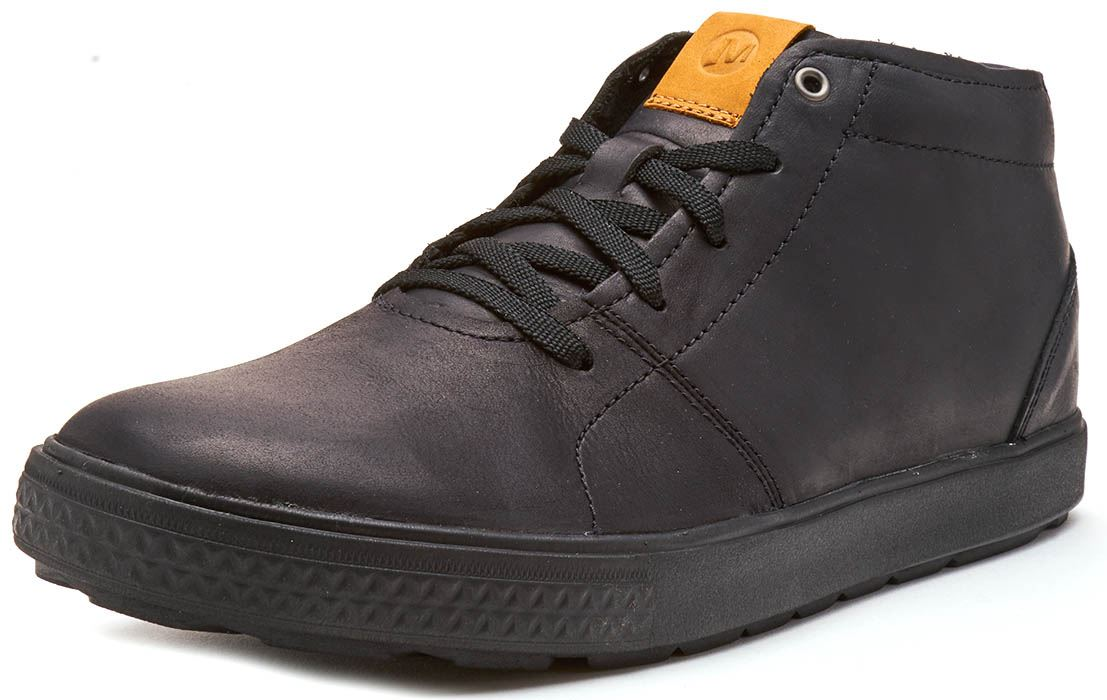 Merrell Barkley Chukka Full Grain Leather Boots in Black /& Brunette Brown