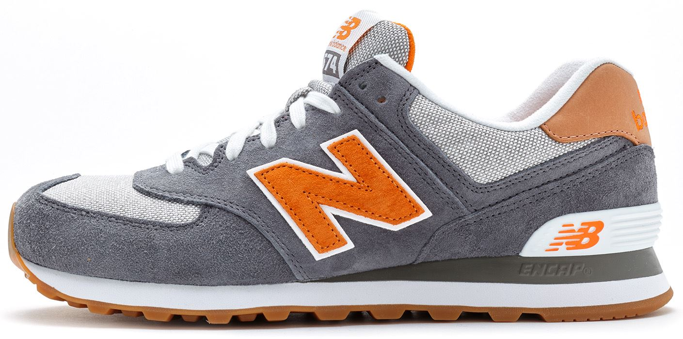 mens new balance 574 grey orange