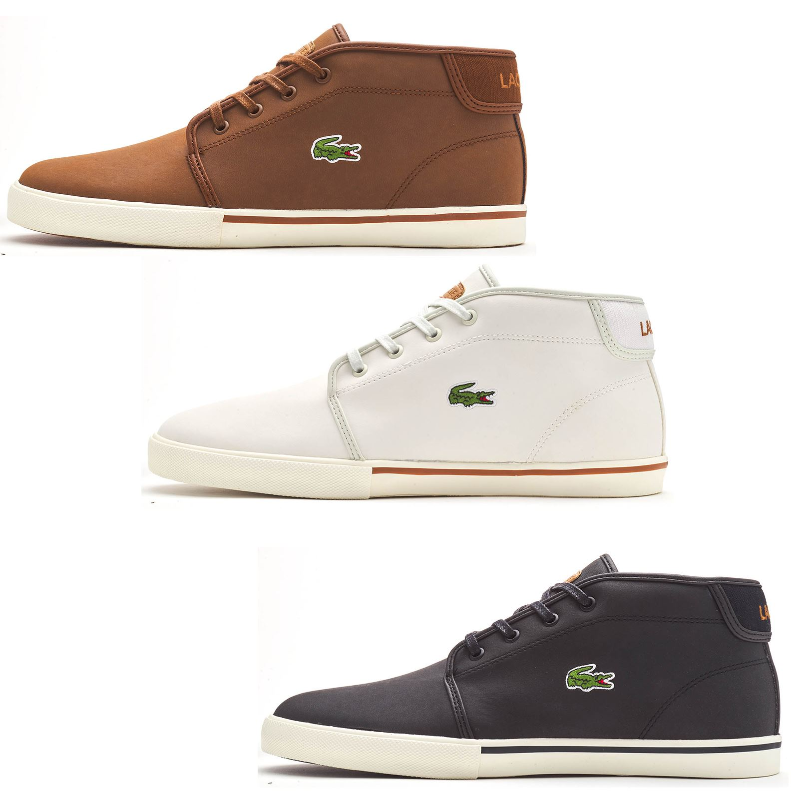 f42709e749 Details about Lacoste Ampthill 119 1 CMA Chukka Boots Hi Top Trainers in  Black, Brown & White