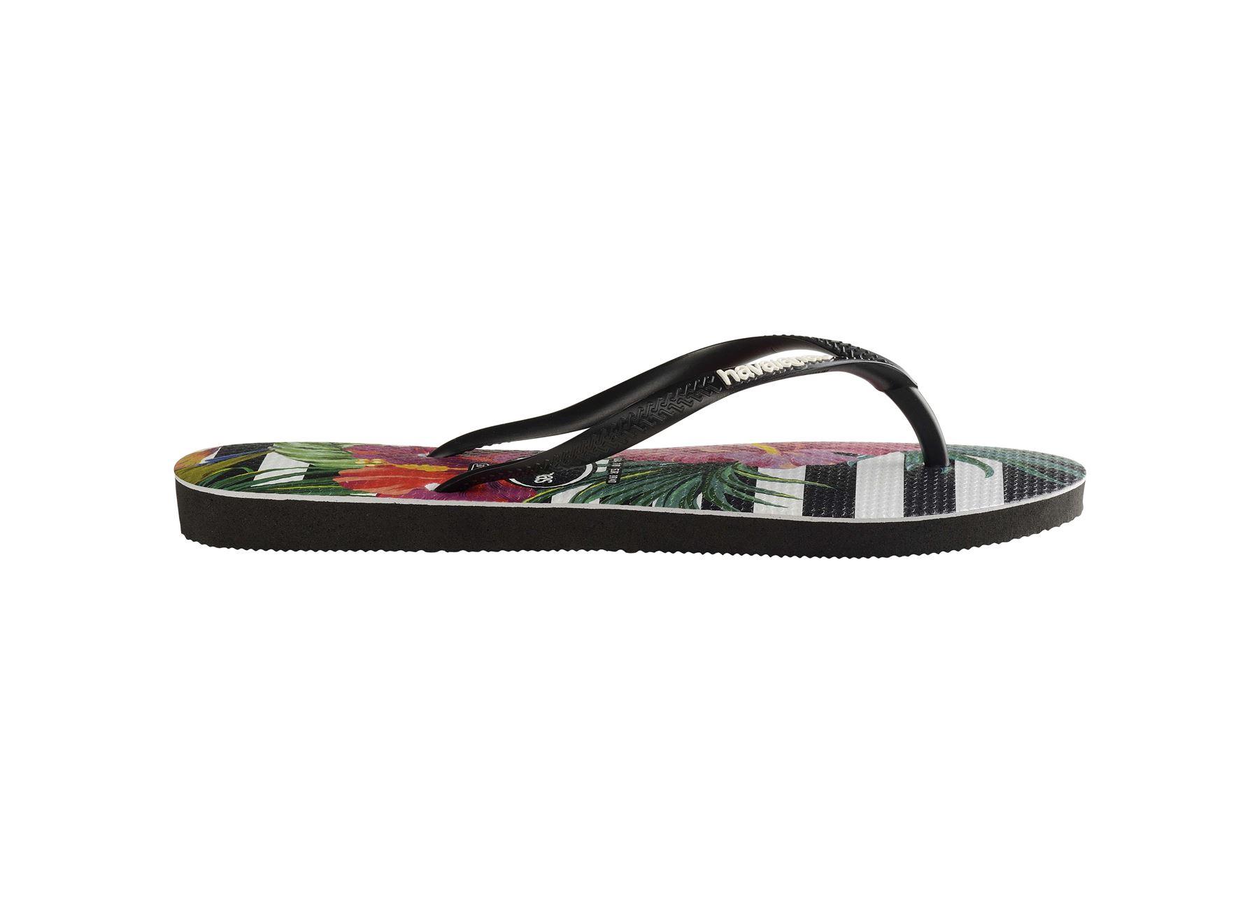 Havaianas-Slim-Tropical-amp-Imprime-Floral-Tongs-Ete-Plage-Piscine-Sandales miniature 7