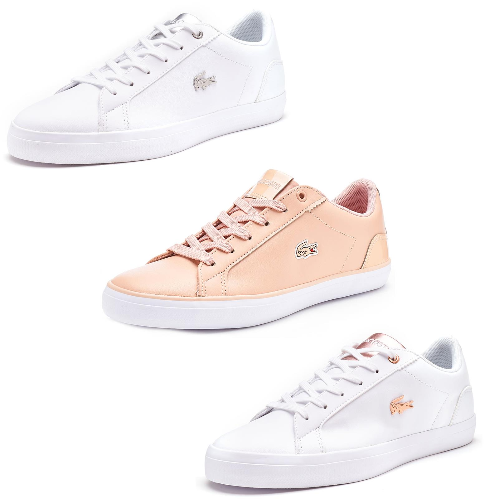 Lacoste Lerond 119 1 QSP Leather Lace Up Trainers in White & Silver & Rose Gold