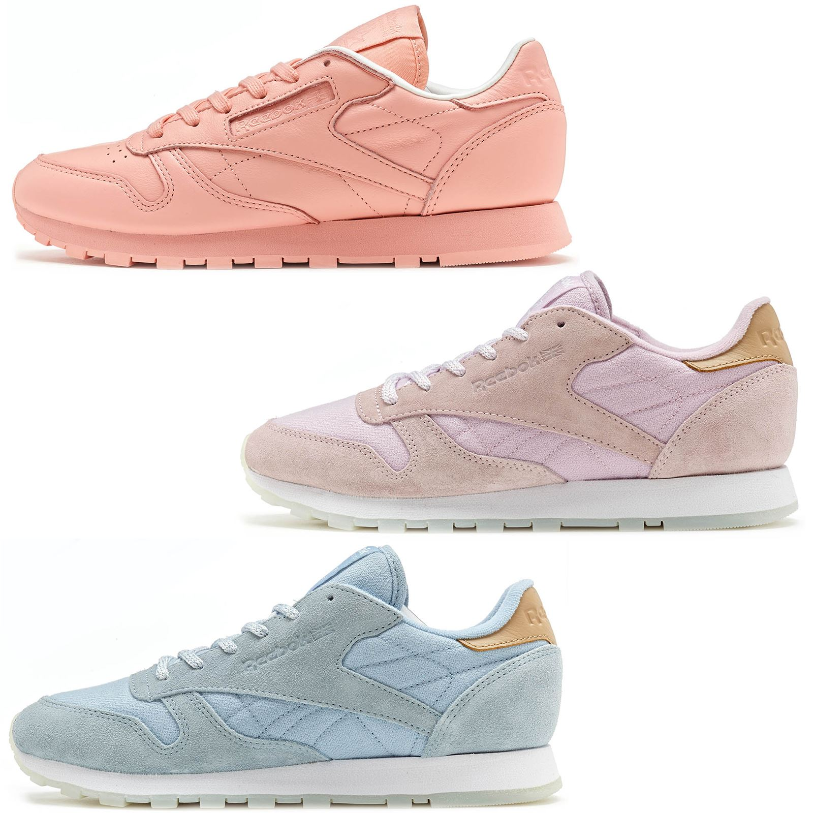 Details zu Reebok Classic Leather Sea Worn & Spirit Classic Suede Women Trainers All Sizes