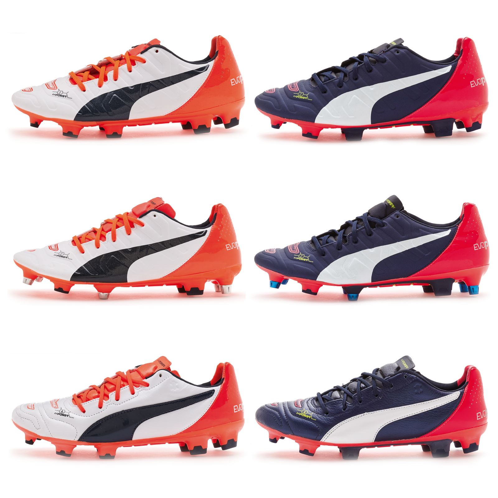 Details about Puma EvoPower 1.2   2.2 Football Boots Soccer Cleats In Black  White Red   Orange 48fd35a6c