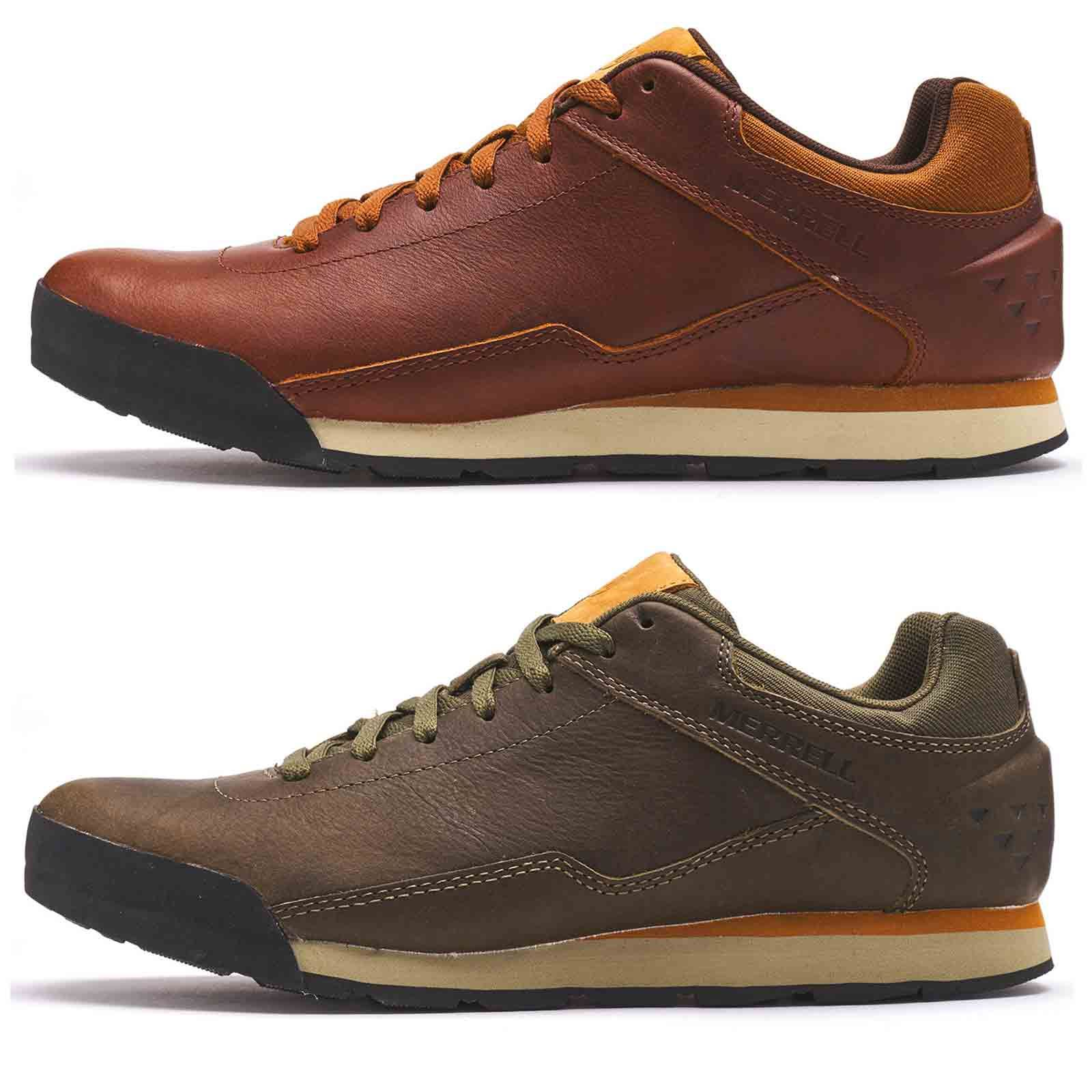 Details about Merrell Burnt Rocked Leather Lace Up Casual Trainers in Dusty Green & Robe Brown
