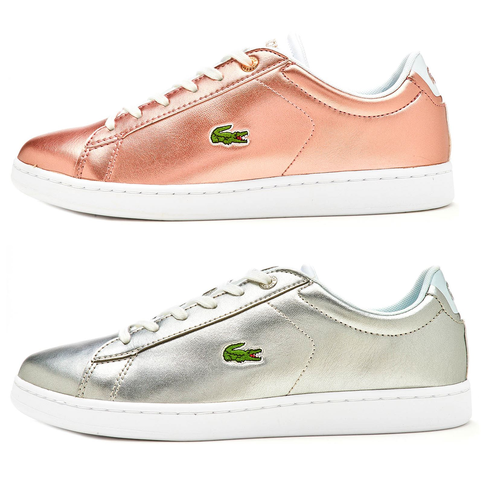 4cc62d3f3164 Lacoste Carnaby Evo 318 2 SPJ GS Trainers in Metallic Pink   Silver  736SPJ0002