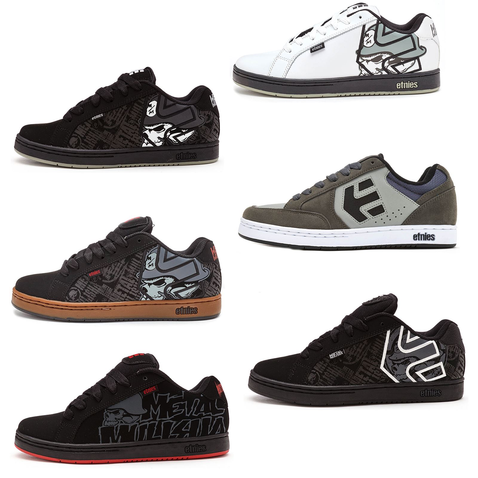 Details about Etnies Metal Mulisha Fader Trainers in Black   White   Gum in  All Sizes 4c88bfdf6