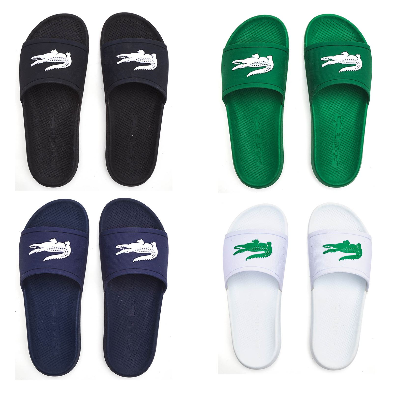 380090f94b8a Details about Lacoste Croco 119 1 CMA Slide Pool Beach Sandals in Black,  Blue, White & Green