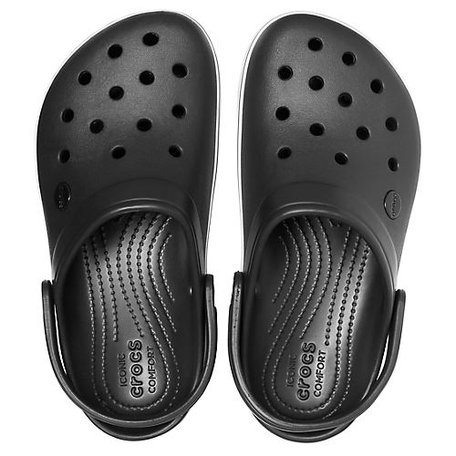 Crocs-Crocband-Platform-Clogs-Relaxed-Fit-Sandals-Shoes-in-Black-Grey-amp-Melon thumbnail 5