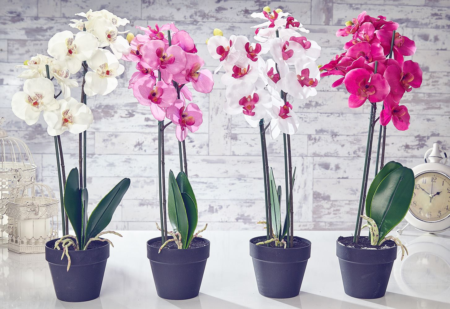 Artificial orchid flowers plants in pot home decor garden for Artificial leaves for decoration