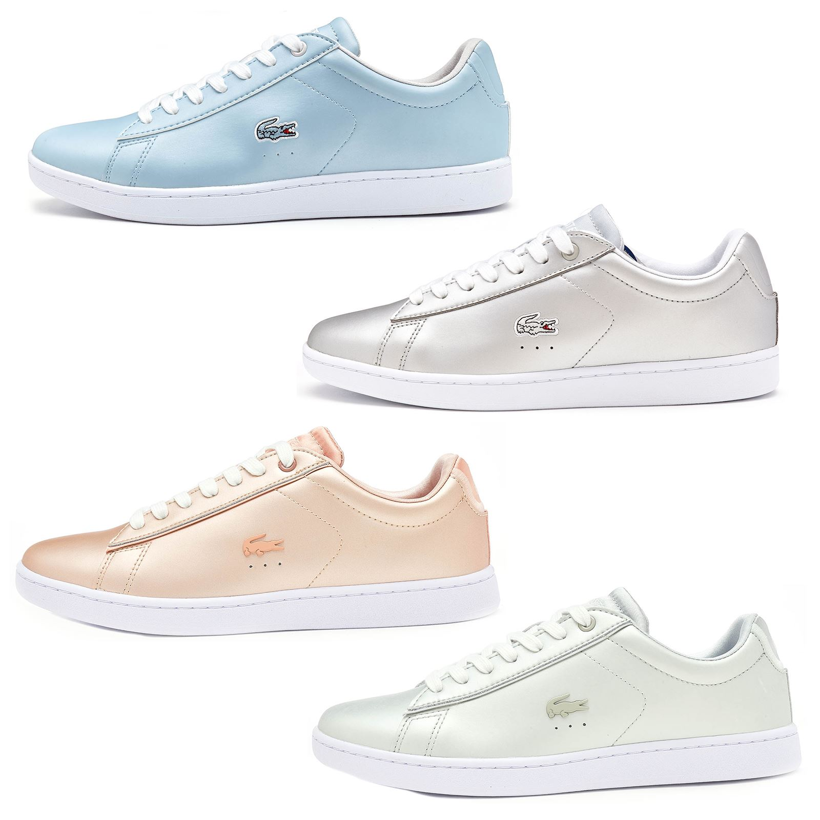 Lacoste Carnaby EVO Leder Trainers in Metallic Silver, Blau & Pink 733SPW1012