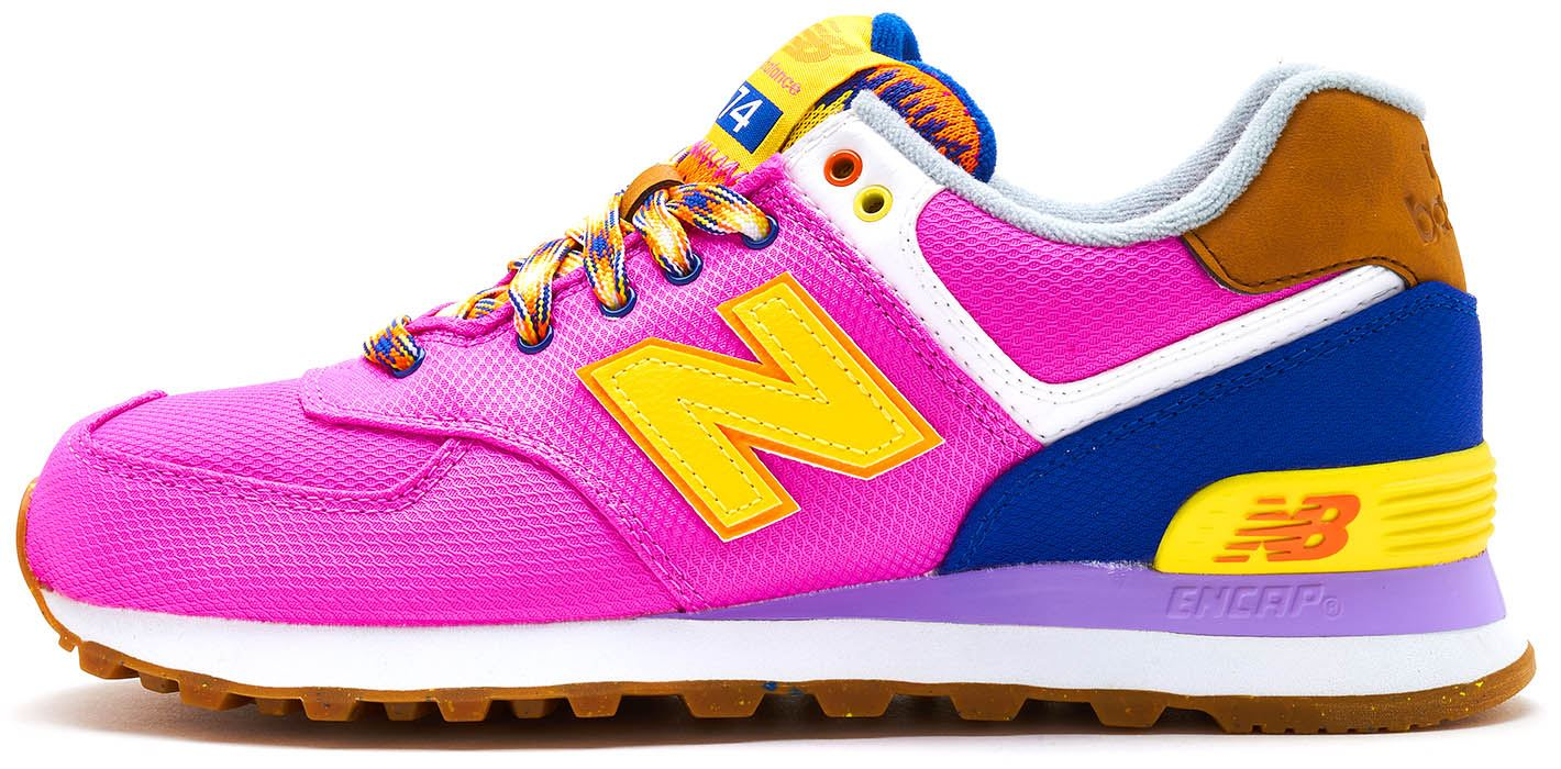 on sale be250 fab82 New Balance 574 Suede Retro Women Trainers in Pink   Yellow WL574 EXB