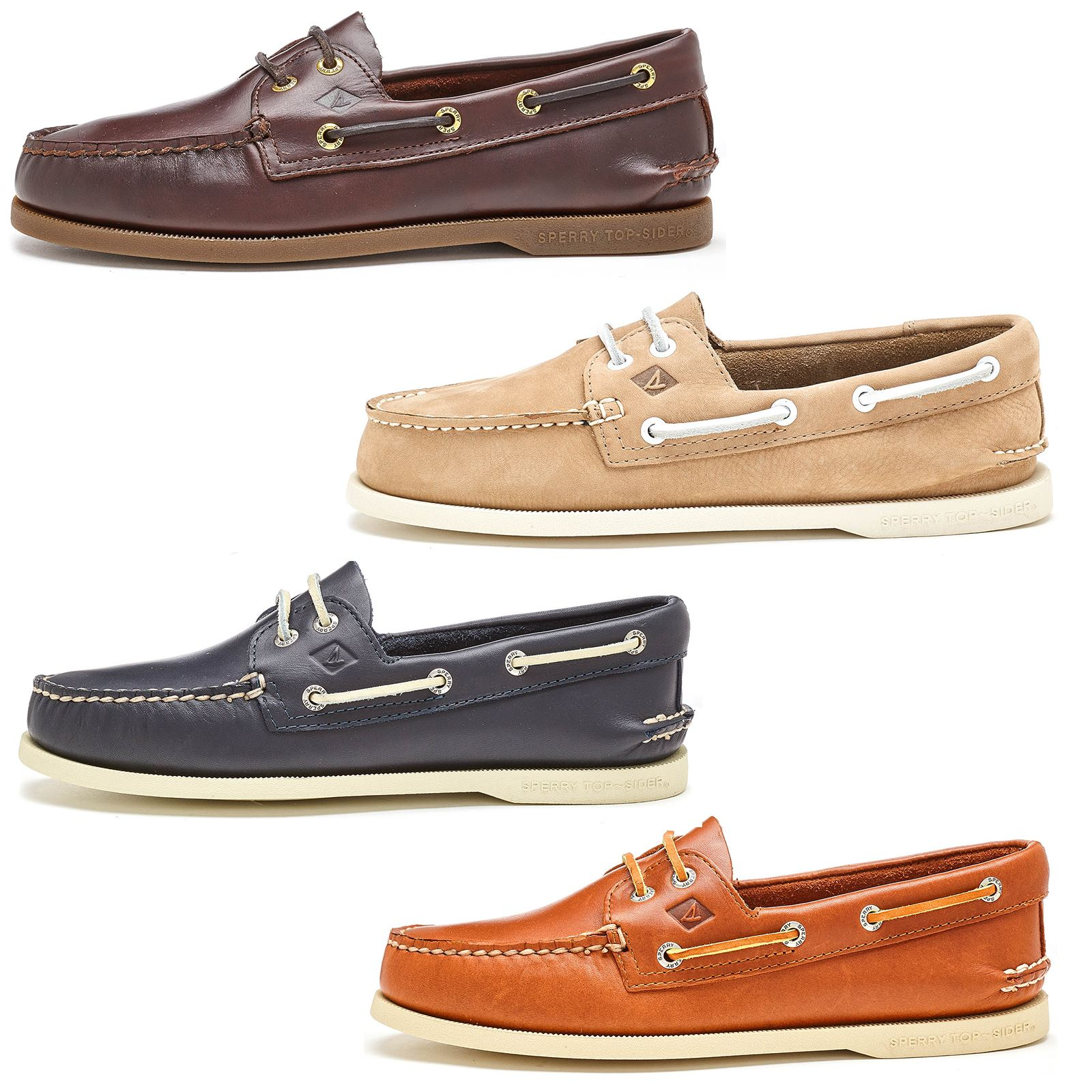 2d2159920 Details about Sperry Authentic Original 2-Eye Boat Deck Shoes in Brown  Taupe   Blue