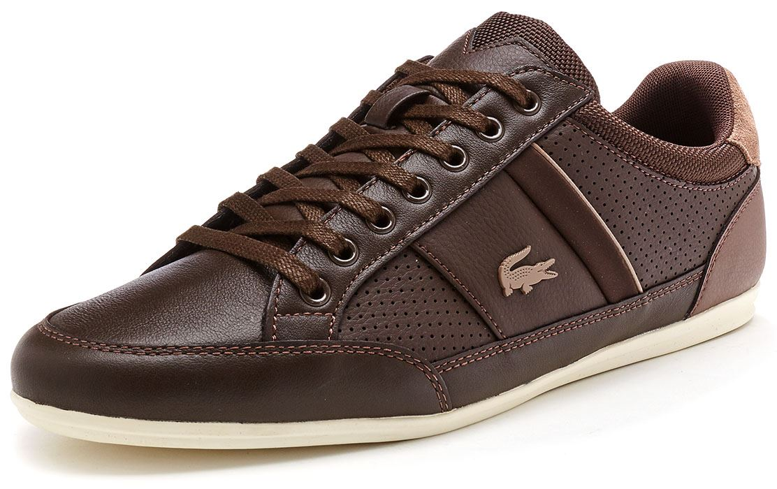 0f9553d2f4ea Lacoste Chaymon 117 1 CAM Leather Trainers in Navy Blue   Brown ...