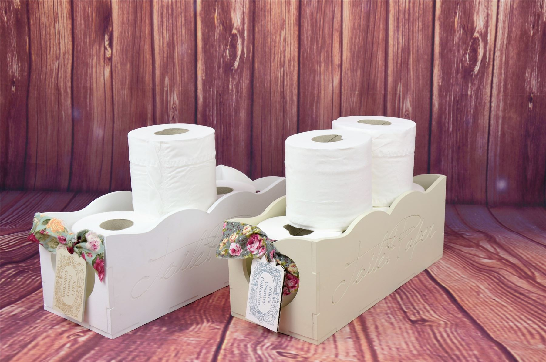 Shabby chic wooden toiletries toilet paper rack holder for Toilette shabby chic