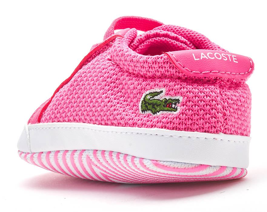 White /& Pink Lacoste L.12.12 Crib 318 1 CUB Baby Mesh Slip On Trainers in Blue