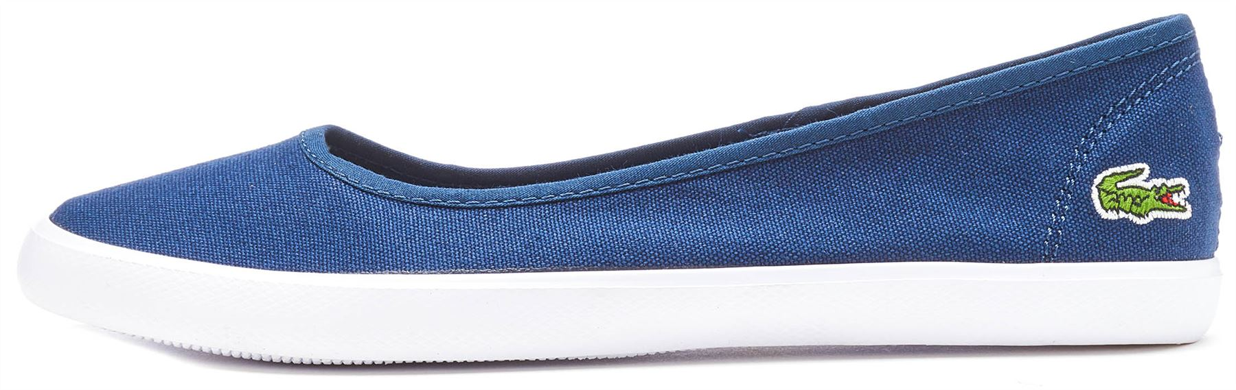 3e46aeae31bc9 Lacoste Women s Marthe BL 1 Canvas Slip on Ballet Flat Navy UK 4. About  this product. Picture 1 of 5  Picture 2 of 5 ...