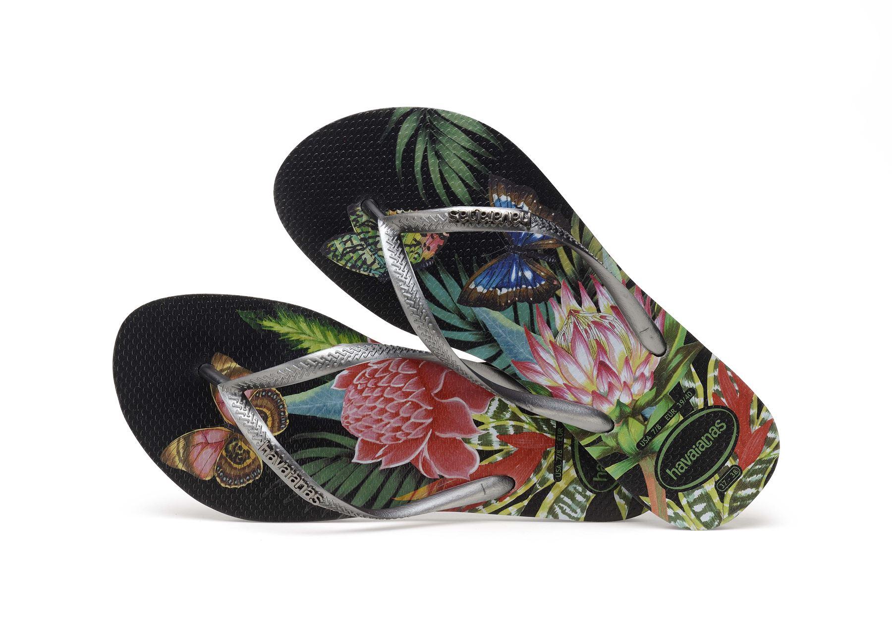 Havaianas-Slim-Tropical-amp-Imprime-Floral-Tongs-Ete-Plage-Piscine-Sandales miniature 5