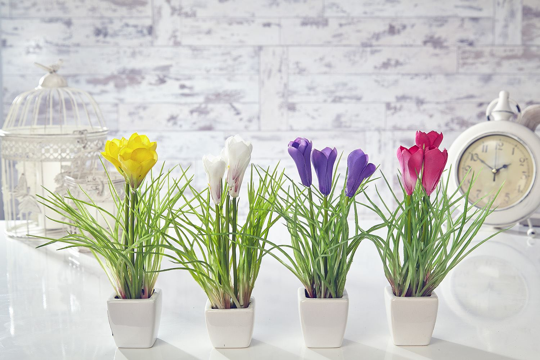 Artificial Crocus Flowers Plants In Pot Home Decor Garden Red White
