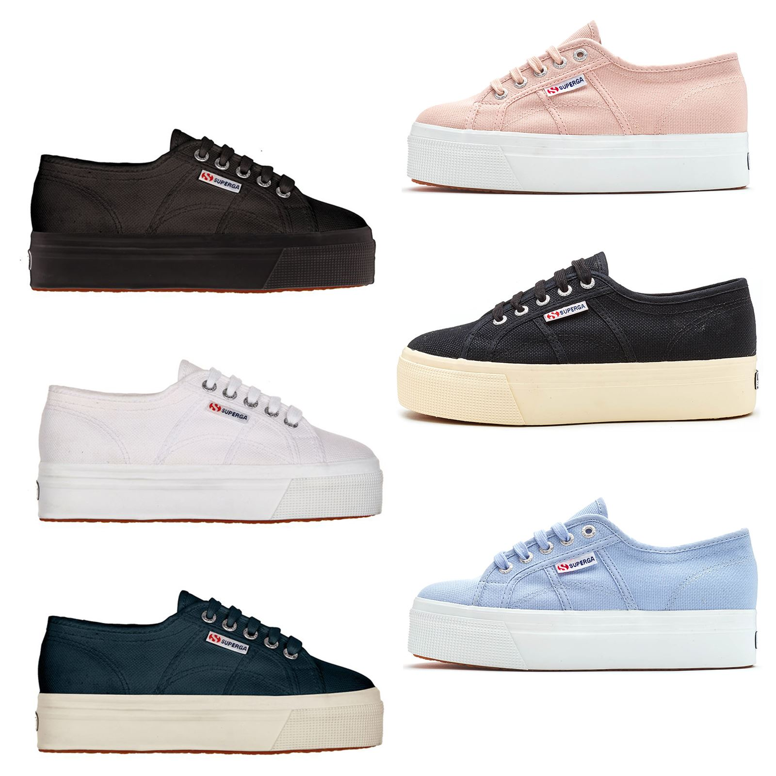 l'atteggiamento migliore ce115 9f23f Details about Superga 2790 ACOTW Linea Up Down Platform Plimsoll Canvas  Shoes Blue White Black