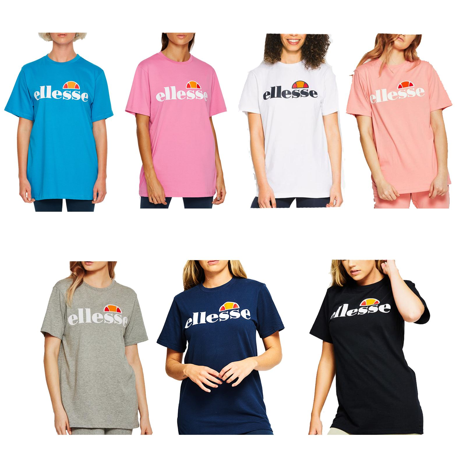 e2d7ee87 Details about Ellesse Albany Women T-Shirt Optic White, Dress Blue & Soft  Pink & Anthracite