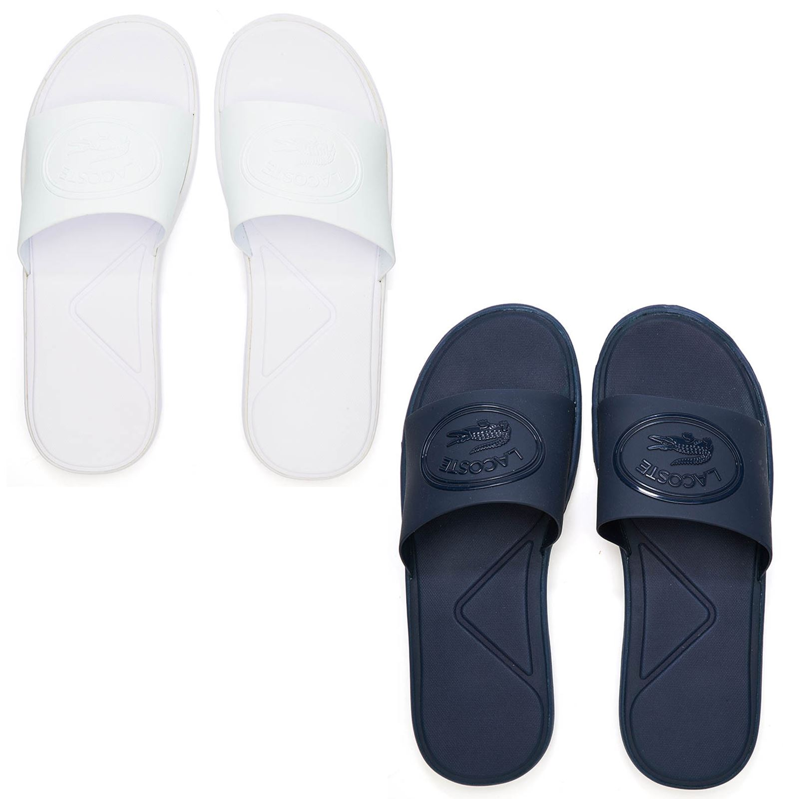 401fd2780e4e Lacoste L.30 318 1 CAM Slide Pool Beach Sandals in White   Navy Blue  736CAM0045