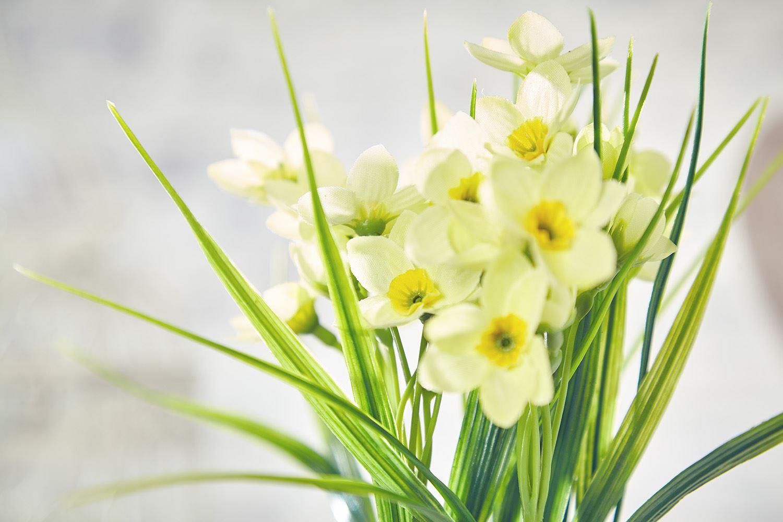 Artificial Daffodil Flowers Plants In Pot Grass Home Decor Garden White Amp Yellow Ebay
