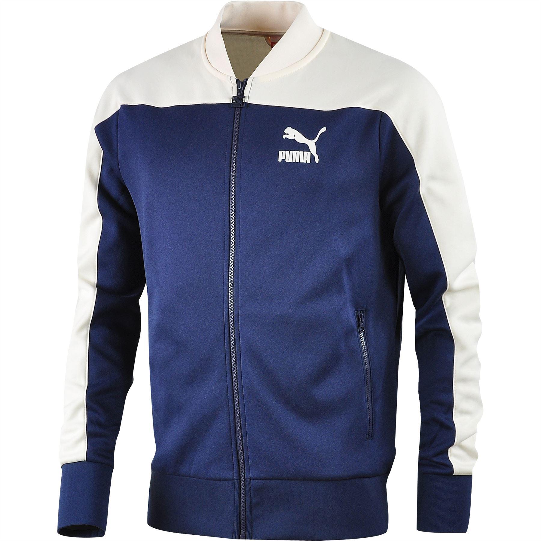 35952f7d96 Puma LS Slim Eagle Point Full Zip Sweat Retro Jacket in Black   Blue ...