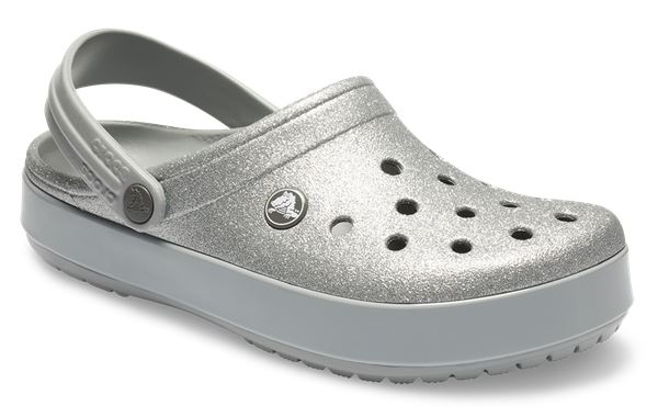 14e583e4263eb0 Crocs Crocband Glitter Relaxed Fit Clogs Shoes Sandals in Black   Silver