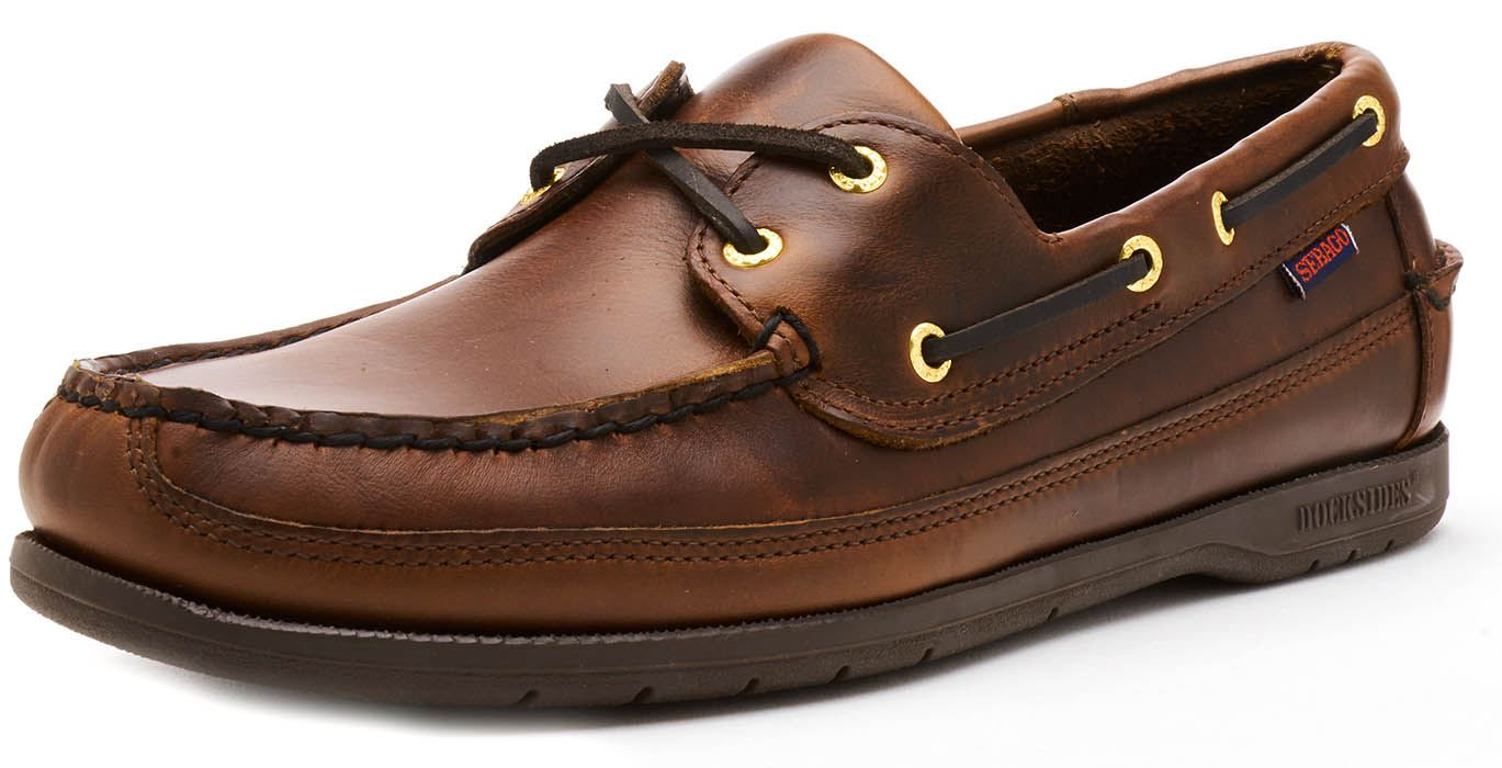 Sebago-Schooner-FGL-Waxed-Leather-Boat-Deck-Shoes-in-Brown-amp-Navy-Blue thumbnail 15