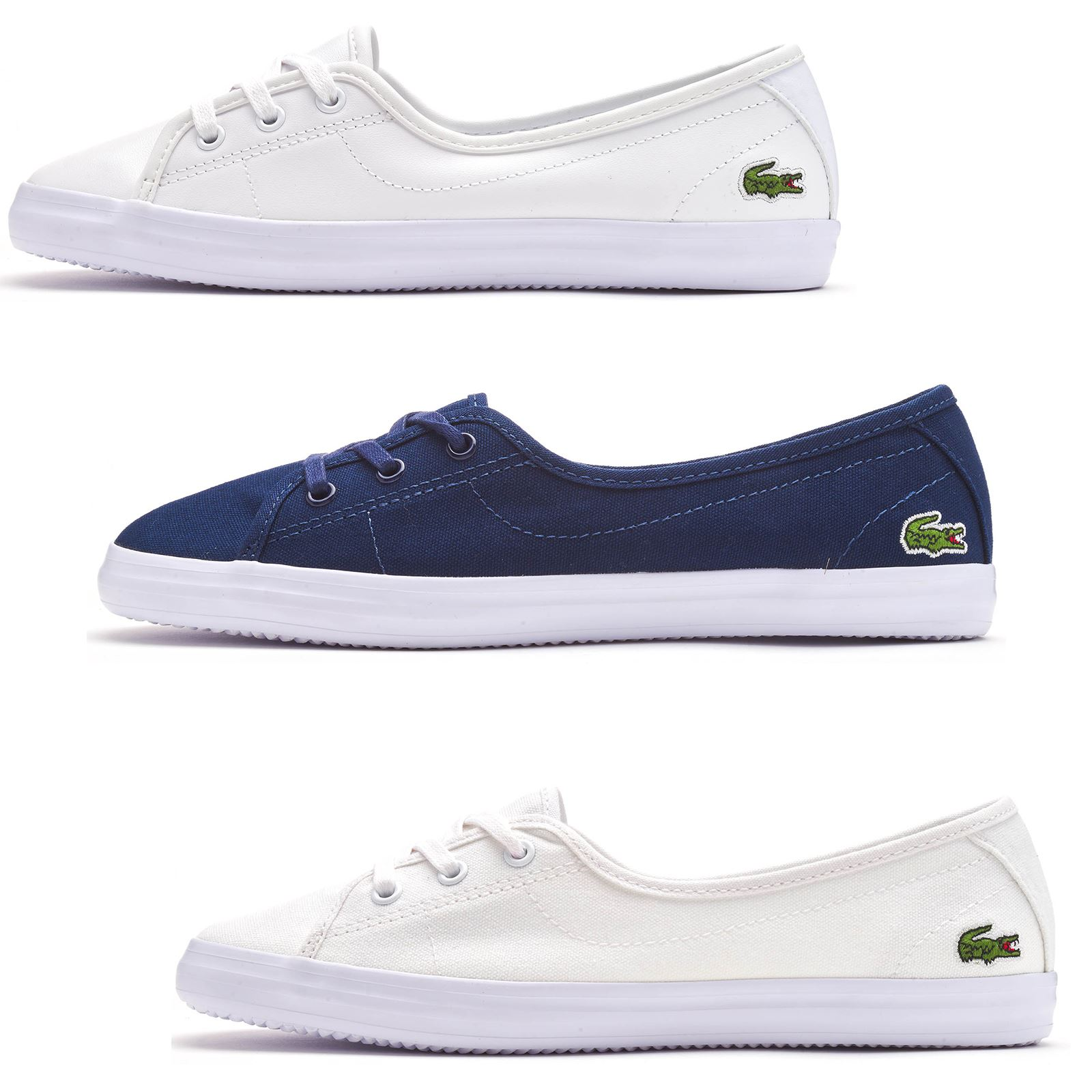 regard détaillé 219cd a49bb Details about Lacoste Ziane Chunky BL 1 & 2 CFA Leather & Canvas Trainers  in White & Navy Blue
