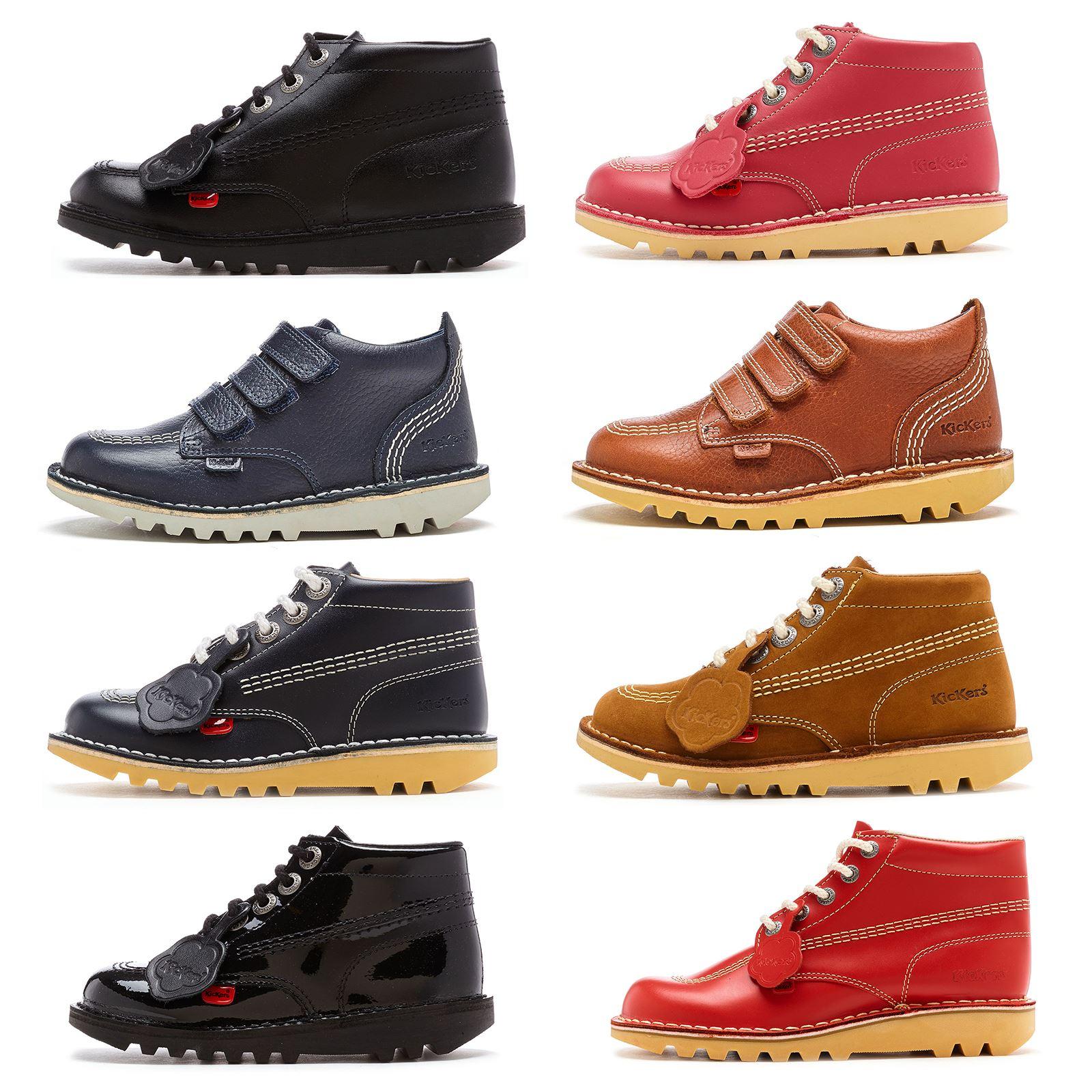 Kickers Toddlers Kick Hi Core Black Leather Boots Shoes UK 11 EU 29 Brand New