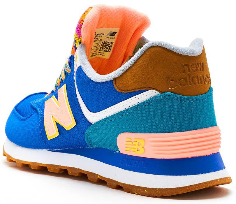 New balance 574 574 balance Gamuza Retro Mujeres Entrenadores en azul y naranja WL574 Exa 507cf5