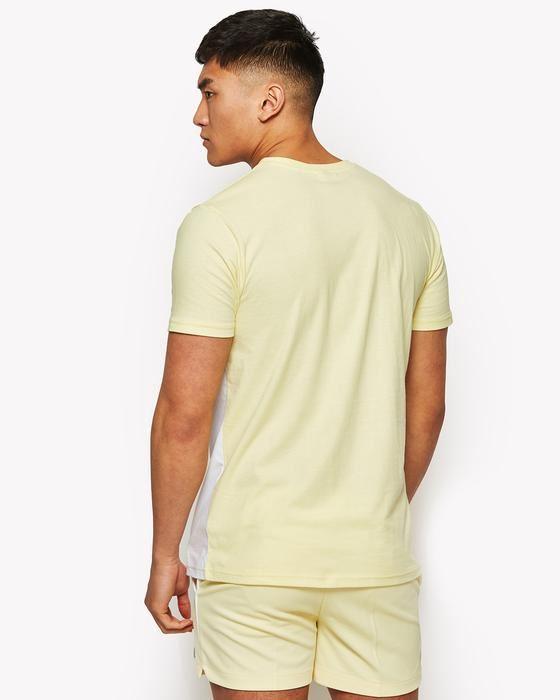 Yellow /& Blue Ellesse Arbatax T-Shirt in White /& Pastel Pink
