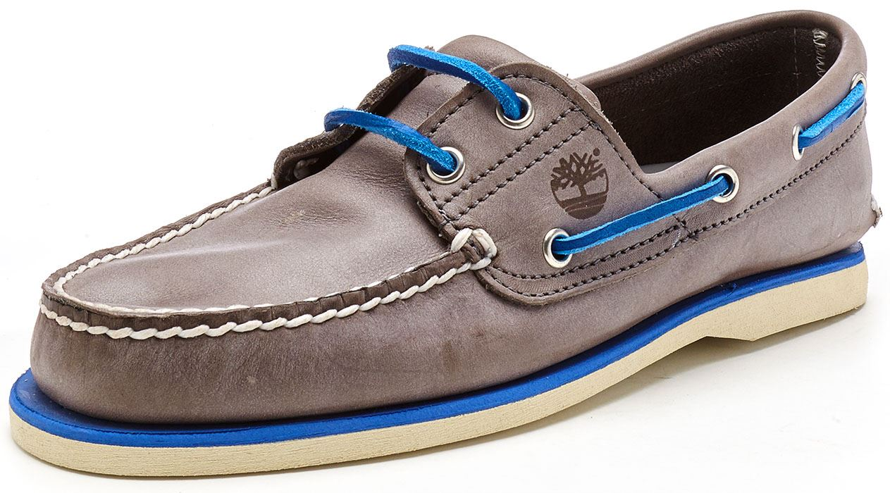 3ff5a97fb Details about Timberland Classic 2 Eye Boat Leather Shoes in Grey & Navy  Blue A16KC