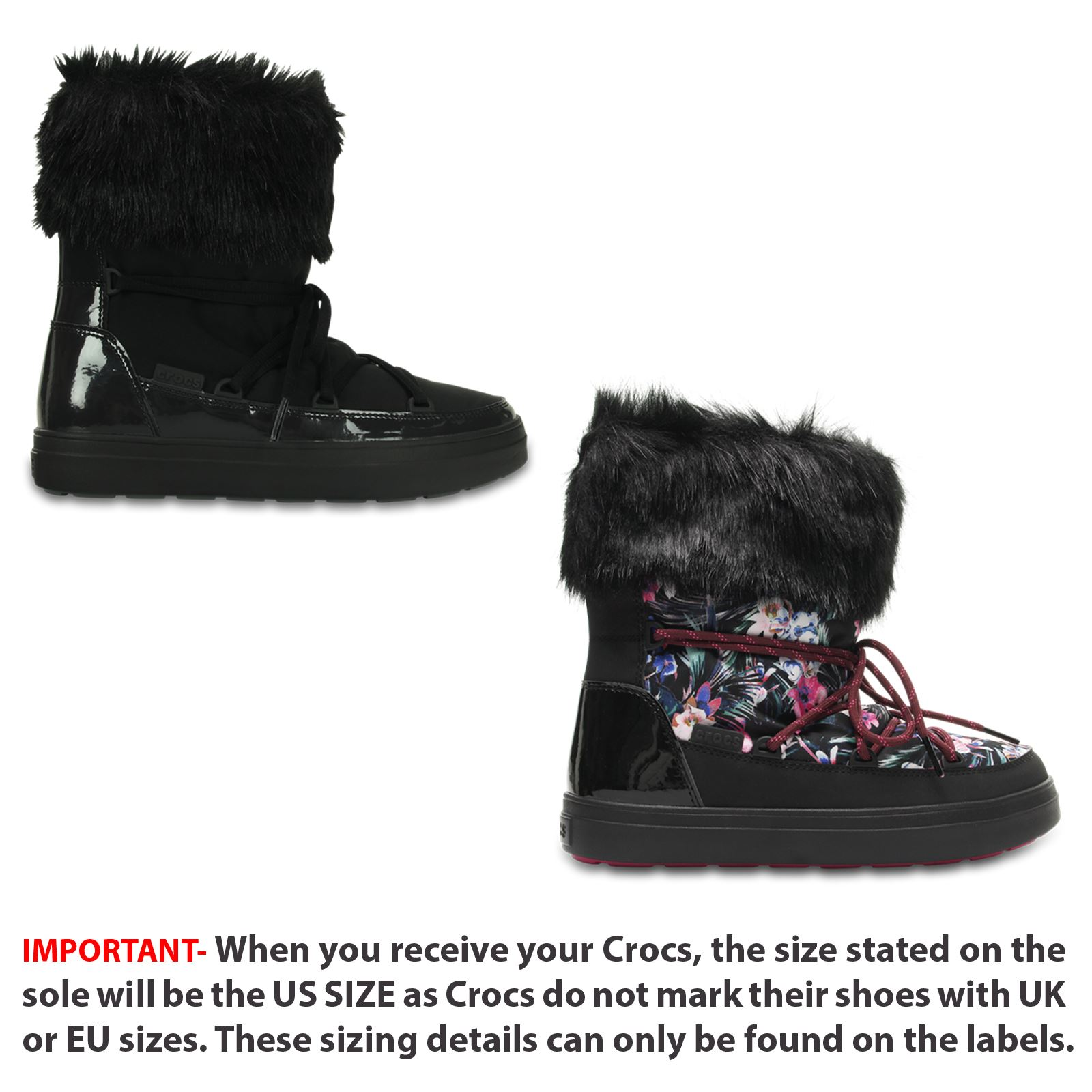 63c2d7f699437d Crocs LodgePoint Graphic Lace Roomy Winter Warm Boots in Flower Print Black