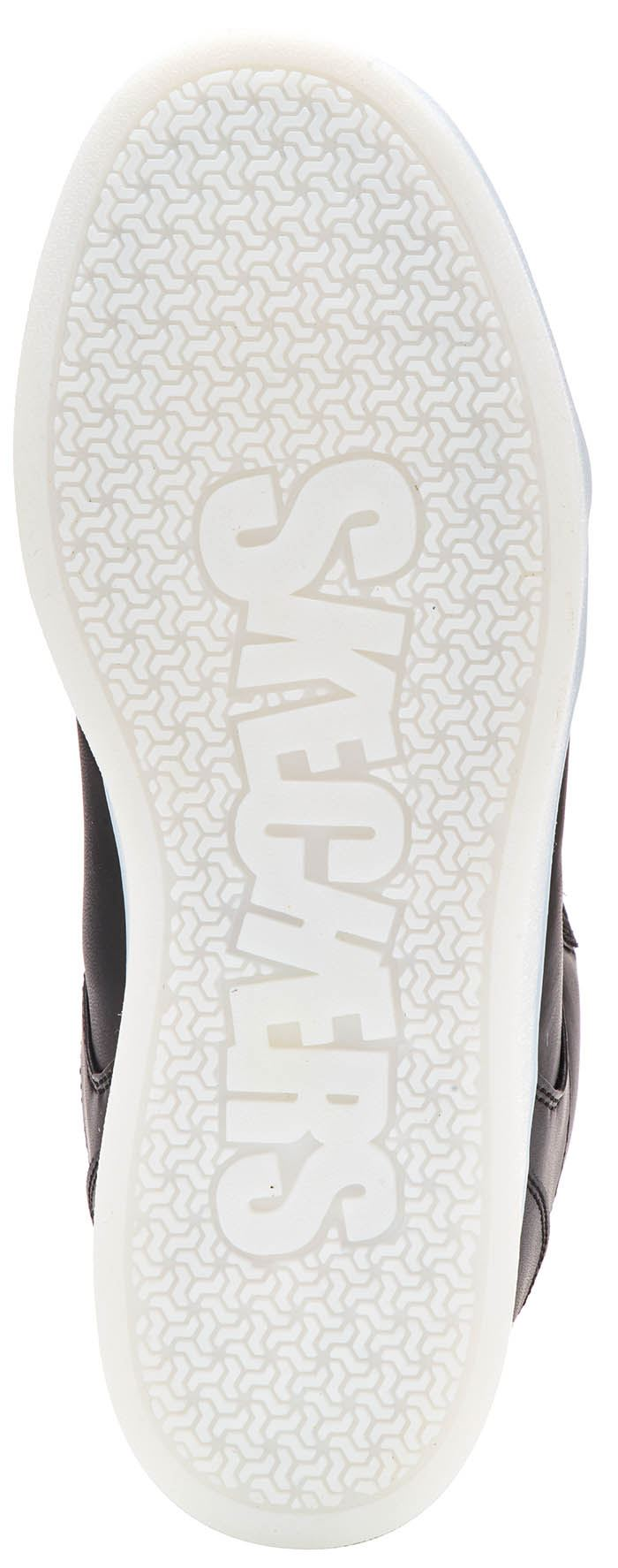 Skechers Energy Lights Hi Top Kids Trainers Black White Outglow Print Rose Gold