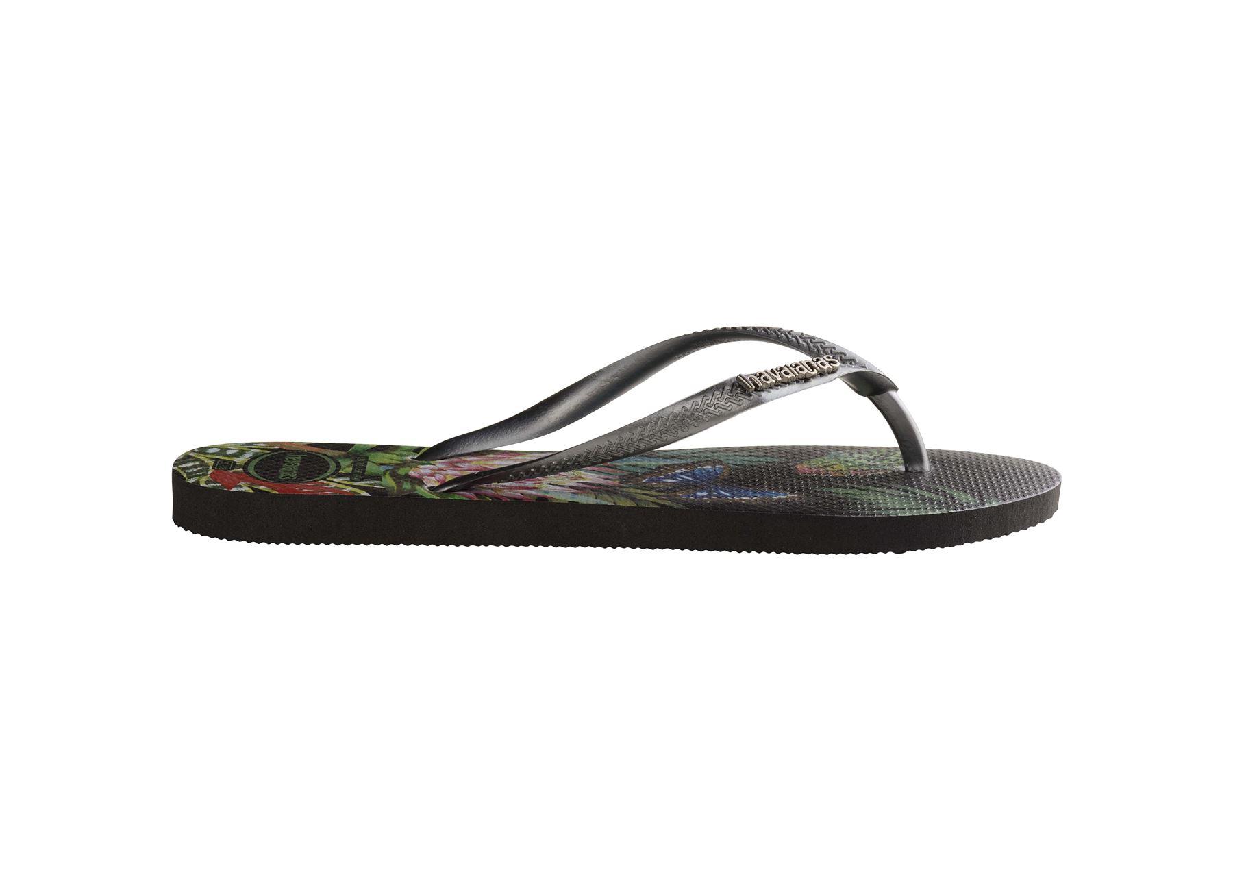 Havaianas-Slim-Tropical-amp-Imprime-Floral-Tongs-Ete-Plage-Piscine-Sandales miniature 3