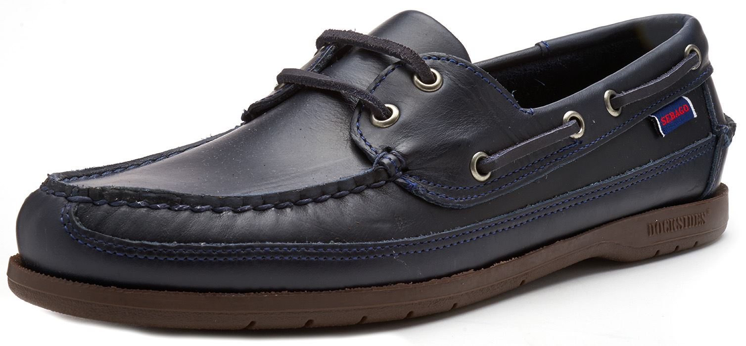 Sebago-Schooner-FGL-Waxed-Leather-Boat-Deck-Shoes-in-Brown-amp-Navy-Blue thumbnail 11