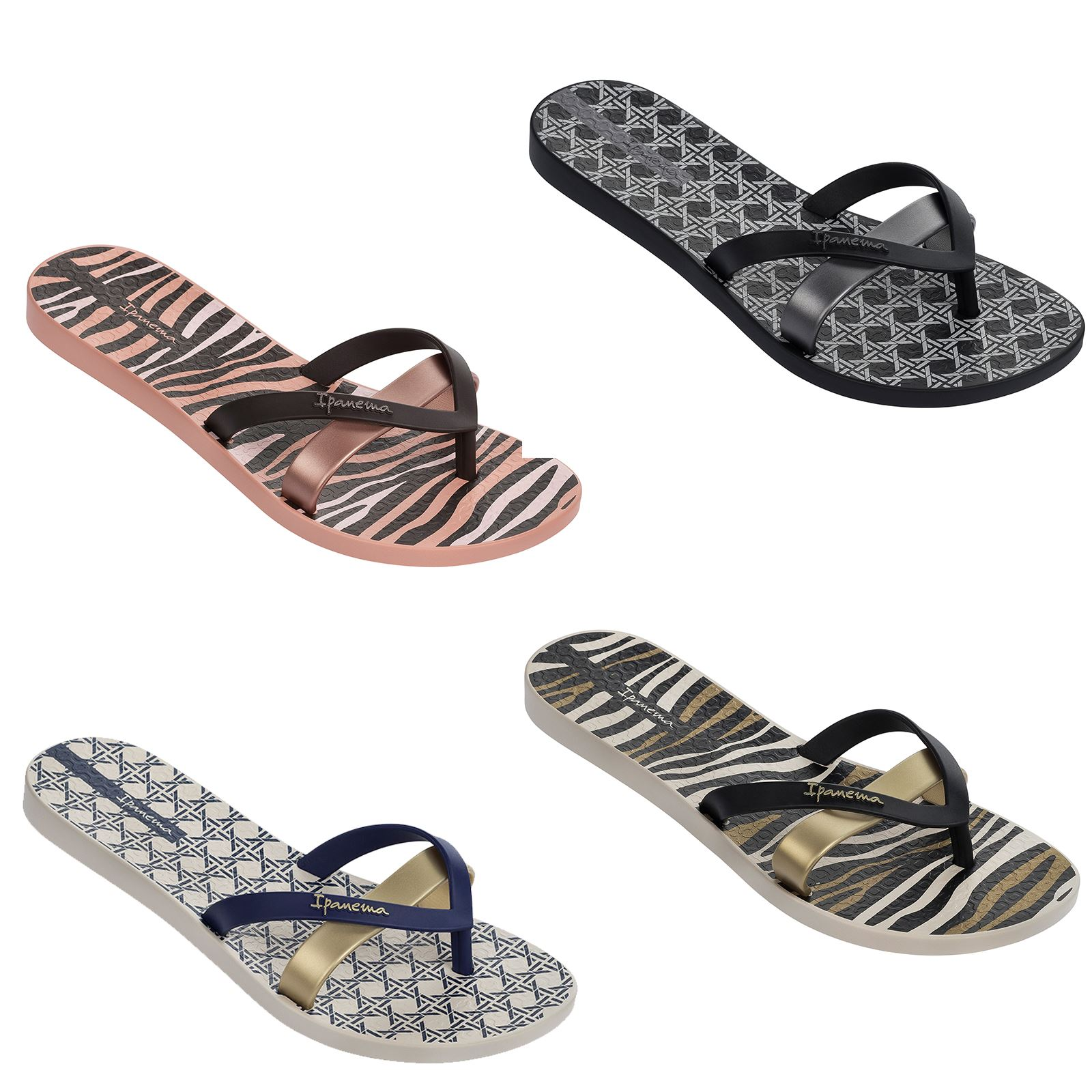 3ea3e9319d9c Ipanema Silk II Flip Flops Slim Footbed Print Beach Sandals 82065