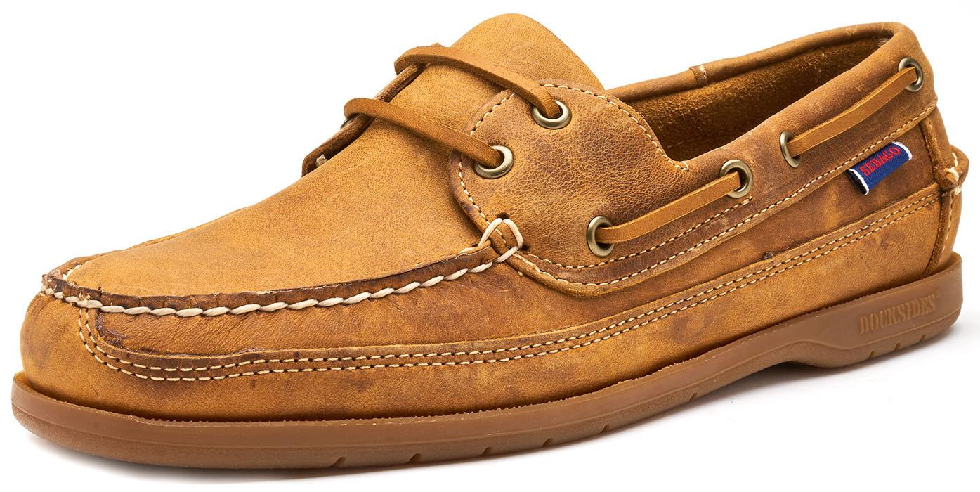 Sebago-Schooner-FGL-Waxed-Leather-Boat-Deck-Shoes-in-Brown-amp-Navy-Blue thumbnail 3