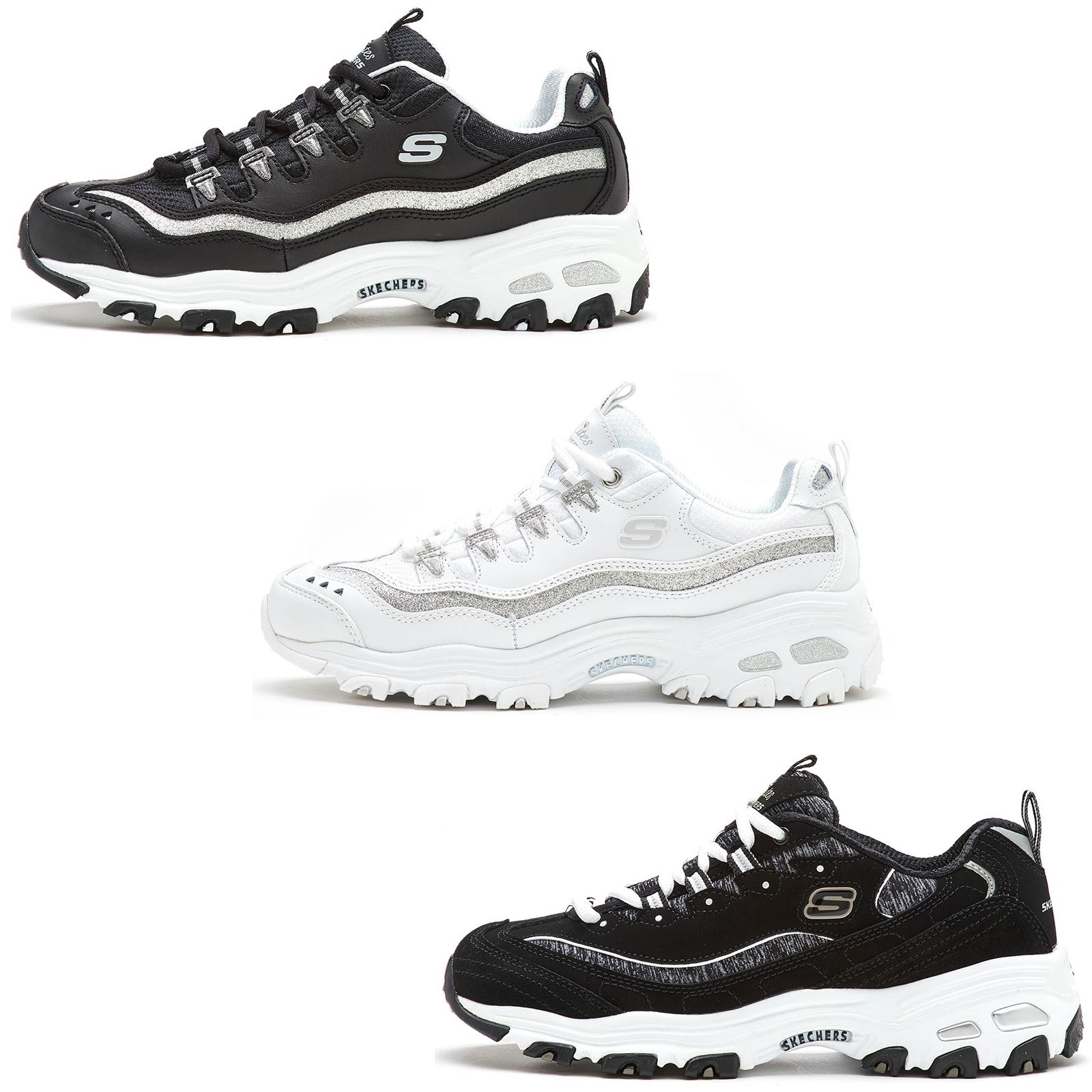 80be3b590fc2 Details about Skechers D Lite Me Time   Now   Then Memory Foam Running Fit  Women Trainers
